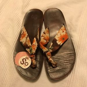 SO floral orange/yellow/brown print thong sandals